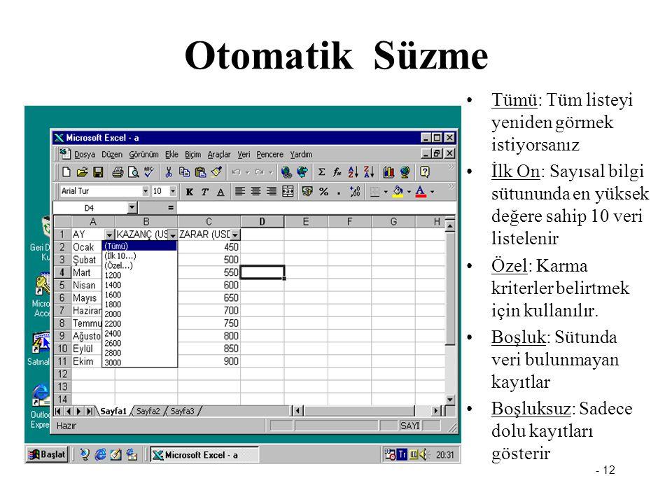 - 12 Otomatik Süzme Tümü: Tüm listeyi yeniden görmek istiyorsanız İlk On: Sayısal bilgi sütununda en yüksek değere sahip 10 veri listelenir Özel: Karma kriterler belirtmek için kullanılır.