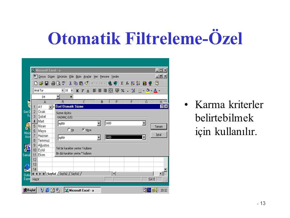 - 13 Otomatik Filtreleme-Özel Karma kriterler belirtebilmek için kullanılır.