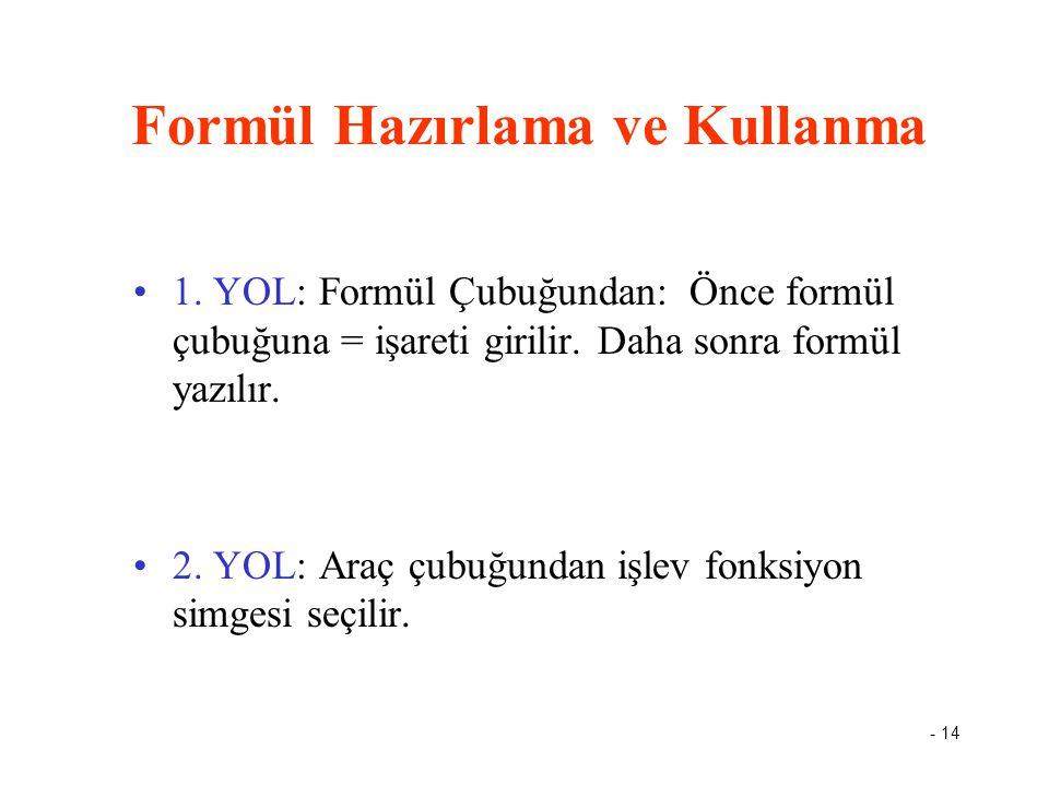 - 14 Formül Hazırlama ve Kullanma 1. YOL: Formül Çubuğundan: Önce formül çubuğuna = işareti girilir. Daha sonra formül yazılır. 2. YOL: Araç çubuğunda