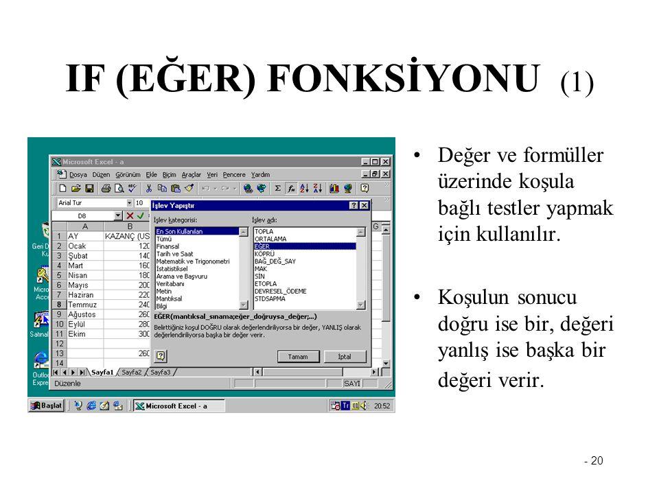- 20 IF (EĞER) FONKSİYONU (1) Değer ve formüller üzerinde koşula bağlı testler yapmak için kullanılır. Koşulun sonucu doğru ise bir, değeri yanlış ise