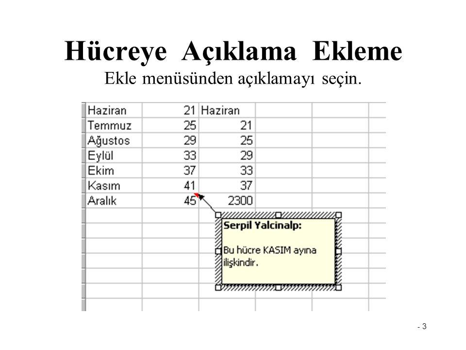 - 3 Hücreye Açıklama Ekleme Ekle menüsünden açıklamayı seçin.