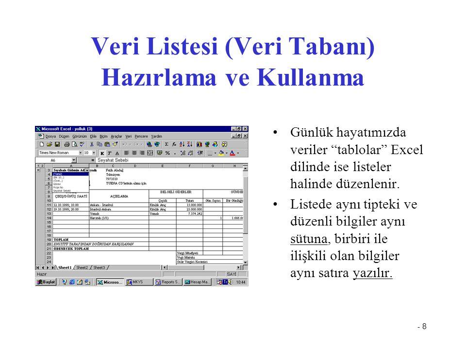 - 8 Veri Listesi (Veri Tabanı) Hazırlama ve Kullanma Günlük hayatımızda veriler tablolar Excel dilinde ise listeler halinde düzenlenir.