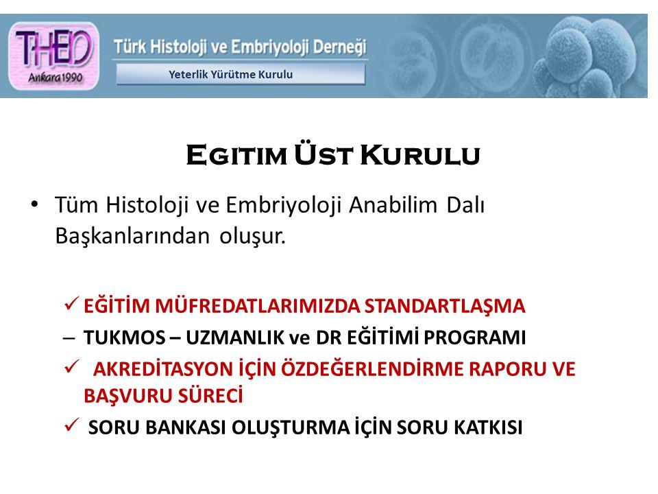 Egitim Üst Kurulu Tüm Histoloji ve Embriyoloji Anabilim Dalı Başkanlarından oluşur.