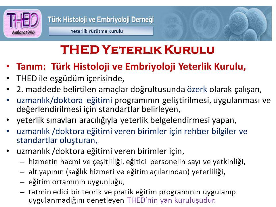 THED Yeterlik Kurulu Tanım: Türk Histoloji ve Embriyoloji Yeterlik Kurulu, THED ile eşgüdüm içerisinde, 2.