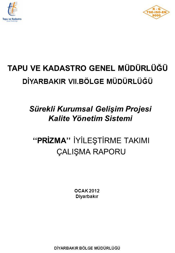 Sürekli Kurumsal Gelişim Projesi Kalite Yönetim Sistemi ''PRİZMA'' İYİLEŞTİRME TAKIMI ÇALIŞMA RAPORU OCAK 2012 Diyarbakır DİYARBAKIR BÖLGE MÜDÜRLÜĞÜ T
