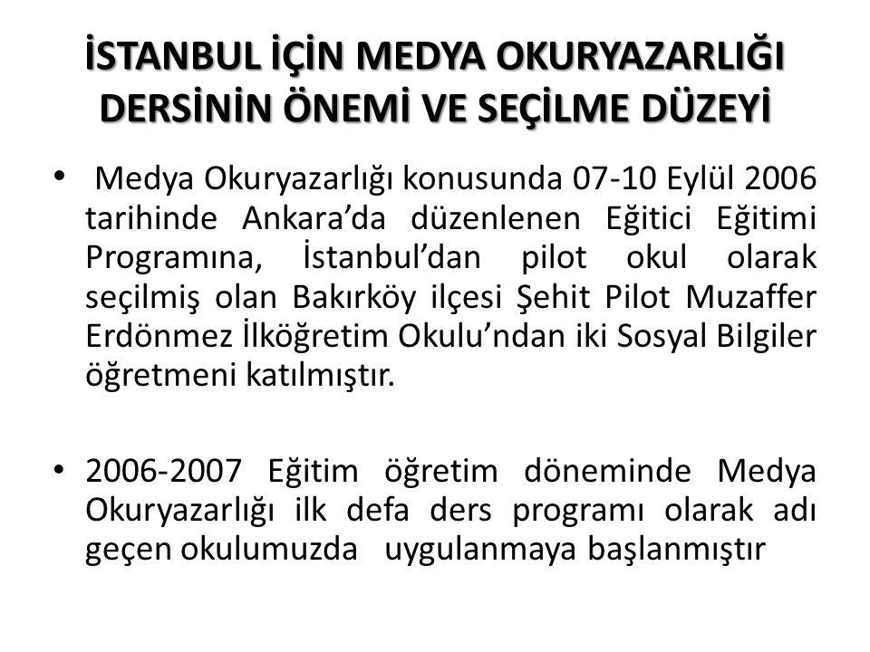 İSTANBUL İÇİN MEDYA OKURYAZARLIĞI DERSİNİN ÖNEMİ VE SEÇİLME DÜZEYİ Medya Okuryazarlığı konusunda 07-10 Eylül 2006 tarihinde Ankara'da düzenlenen Eğiti