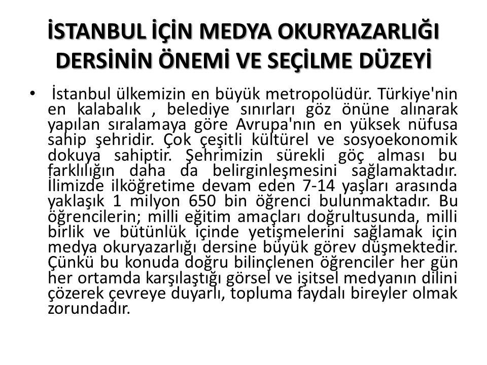 İSTANBUL İÇİN MEDYA OKURYAZARLIĞI DERSİNİN ÖNEMİ VE SEÇİLME DÜZEYİ İstanbul ülkemizin en büyük metropolüdür. Türkiye'nin en kalabalık, belediye sınırl