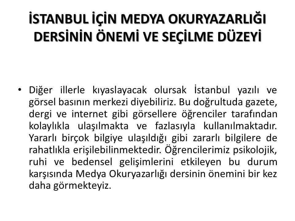 İSTANBUL İÇİN MEDYA OKURYAZARLIĞI DERSİNİN ÖNEMİ VE SEÇİLME DÜZEYİ Medya Okuryazarlığı dersi İstanbul'da Bilişim Teknolojileri dersinin ardından en fazla seçilen derstir.