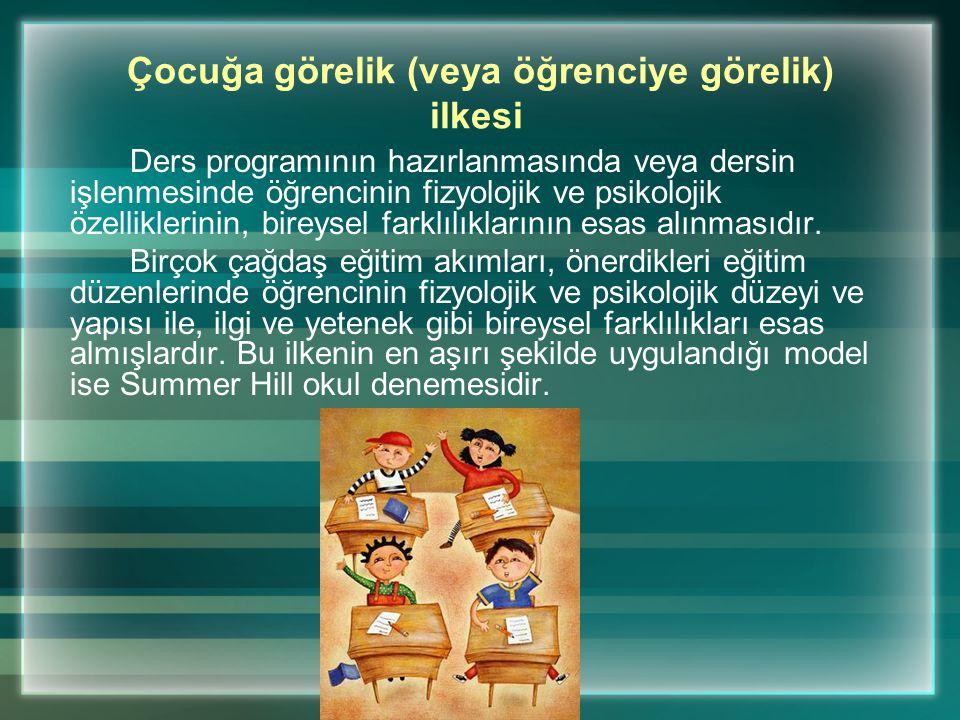 Bu İlkeye: Çocuğa uygunluk veya öğretimi bireyselleştirme ilkesi de denir.