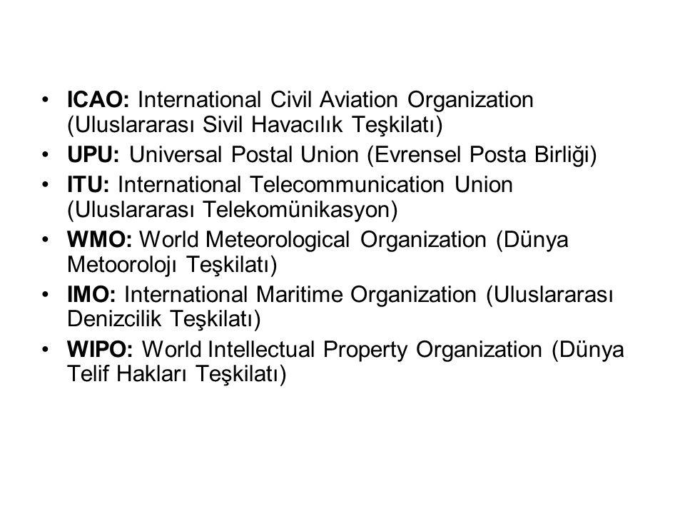 ICAO: International Civil Aviation Organization (Uluslararası Sivil Havacılık Teşkilatı) UPU: Universal Postal Union (Evrensel Posta Birliği) ITU: Int