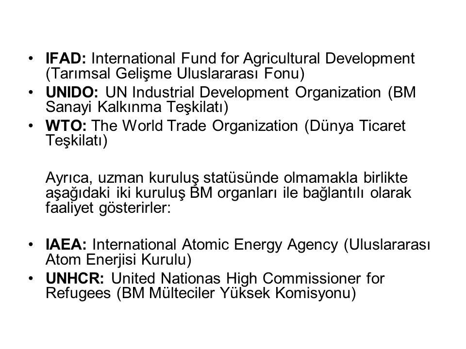 IFAD: International Fund for Agricultural Development (Tarımsal Gelişme Uluslararası Fonu) UNIDO: UN Industrial Development Organization (BM Sanayi Ka