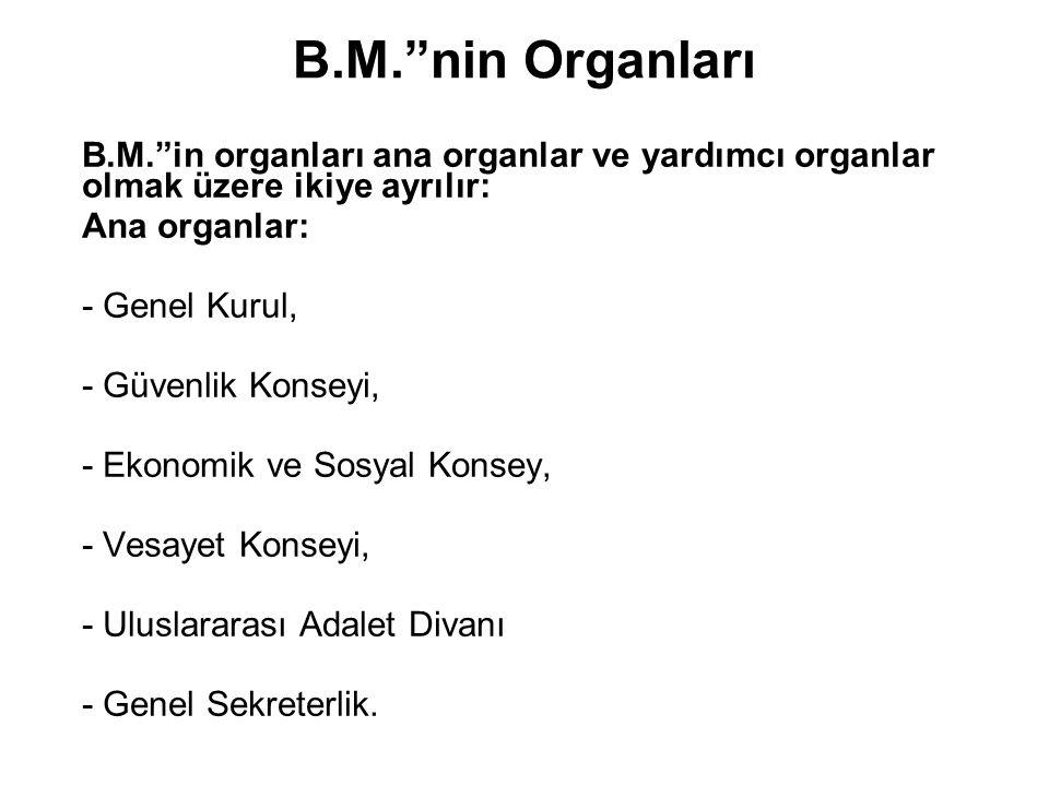 """B.M.""""nin Organları B.M.""""in organları ana organlar ve yardımcı organlar olmak üzere ikiye ayrılır: Ana organlar: - Genel Kurul, - Güvenlik Konseyi, - E"""