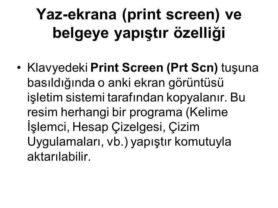 Yaz-ekrana (print screen) ve belgeye yapıştır özelliği Klavyedeki Print Screen (Prt Scn) tuşuna basıldığında o anki ekran görüntüsü işletim sistemi tarafından kopyalanır.