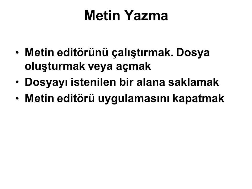Metin Yazma Metin editörünü çalıştırmak.
