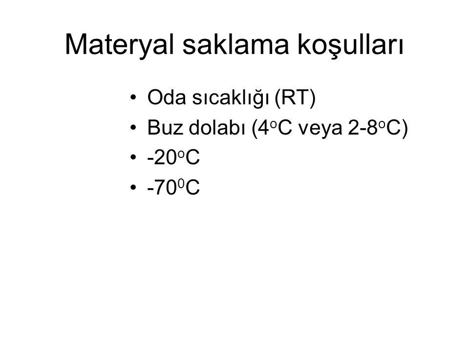 Materyal saklama koşulları Oda sıcaklığı (RT) Buz dolabı (4 o C veya 2-8 o C) -20 o C -70 0 C