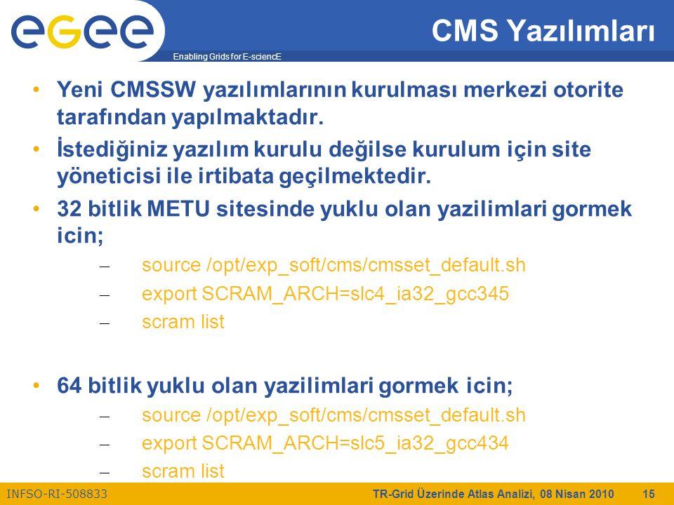 Enabling Grids for E-sciencE INFSO-RI-508833 TR-Grid Üzerinde Atlas Analizi, 08 Nisan 2010 15 CMS Yazılımları Yeni CMSSW yazılımlarının kurulması merkezi otorite tarafından yapılmaktadır.