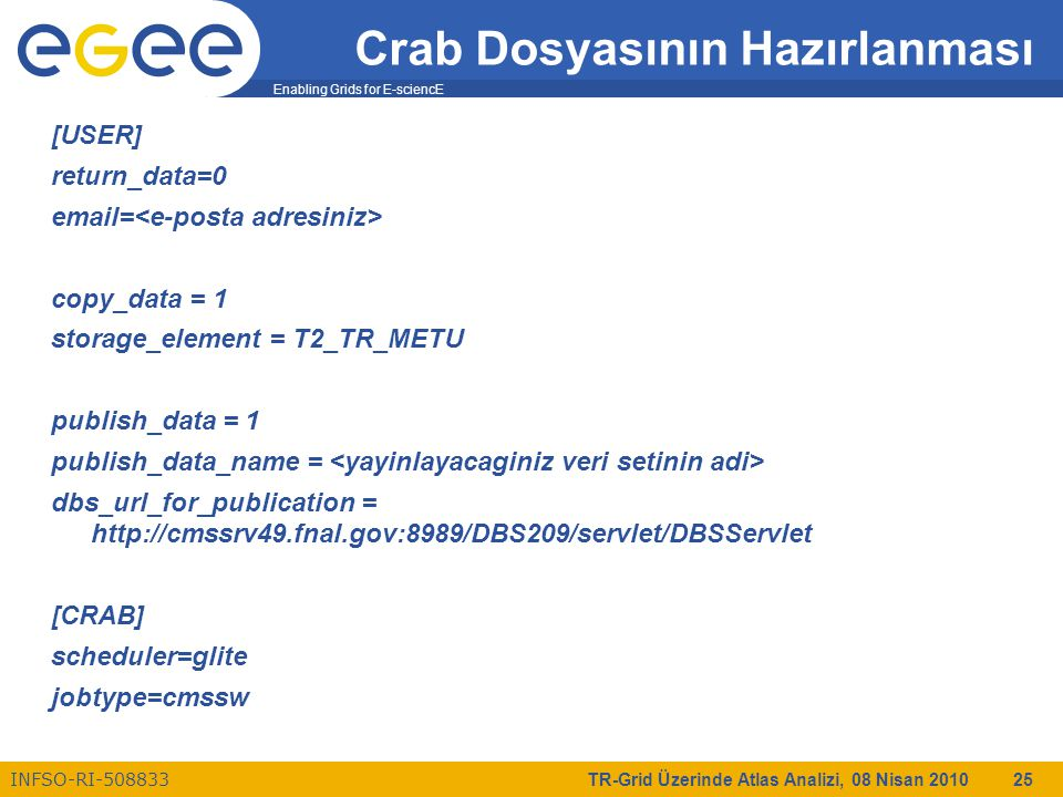 Enabling Grids for E-sciencE INFSO-RI-508833 TR-Grid Üzerinde Atlas Analizi, 08 Nisan 2010 25 Crab Dosyasının Hazırlanması [USER] return_data=0 email= copy_data = 1 storage_element = T2_TR_METU publish_data = 1 publish_data_name = dbs_url_for_publication = http://cmssrv49.fnal.gov:8989/DBS209/servlet/DBSServlet [CRAB] scheduler=glite jobtype=cmssw
