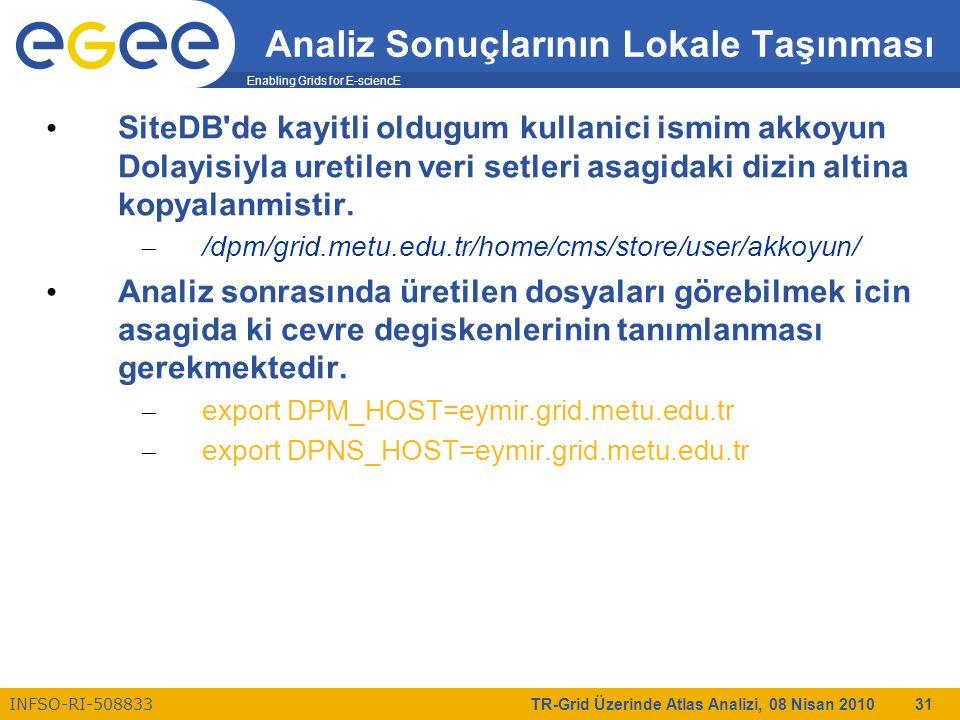 Enabling Grids for E-sciencE INFSO-RI-508833 TR-Grid Üzerinde Atlas Analizi, 08 Nisan 2010 31 Analiz Sonuçlarının Lokale Taşınması SiteDB de kayitli oldugum kullanici ismim akkoyun Dolayisiyla uretilen veri setleri asagidaki dizin altina kopyalanmistir.