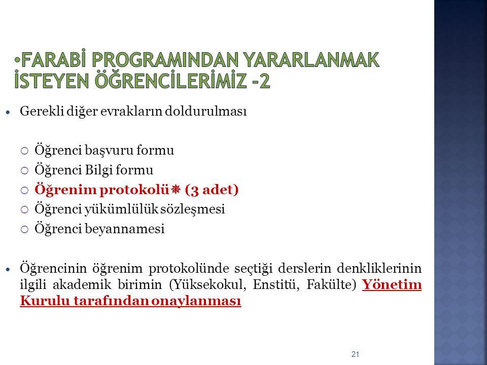 21 Gerekli diğer evrakların doldurulması  Öğrenci başvuru formu  Öğrenci Bilgi formu  Öğrenim protokolü  (3 adet)  Öğrenci yükümlülük sözleşmesi