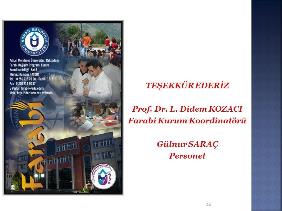 44 TEŞEKKÜR EDERİZ Prof. Dr. L. Didem KOZACI Farabi Kurum Koordinatörü Gülnur SARAÇ Personel