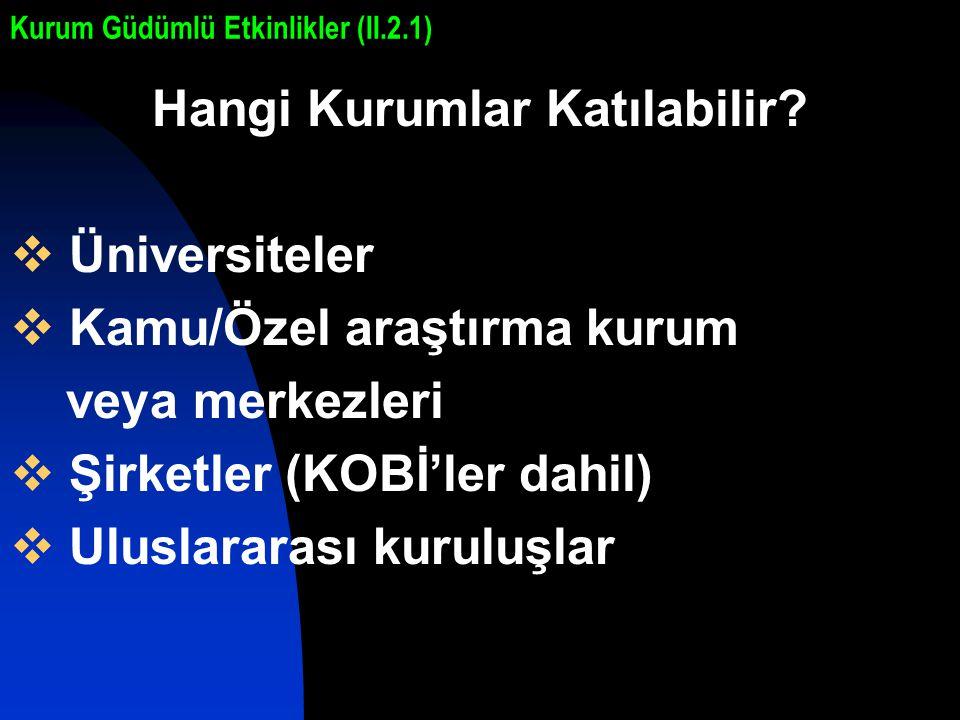Hangi Kurumlar Katılabilir?  Üniversiteler  Kamu/Özel araştırma kurum veya merkezleri  Şirketler (KOBİ'ler dahil)  Uluslararası kuruluşlar Kurum G