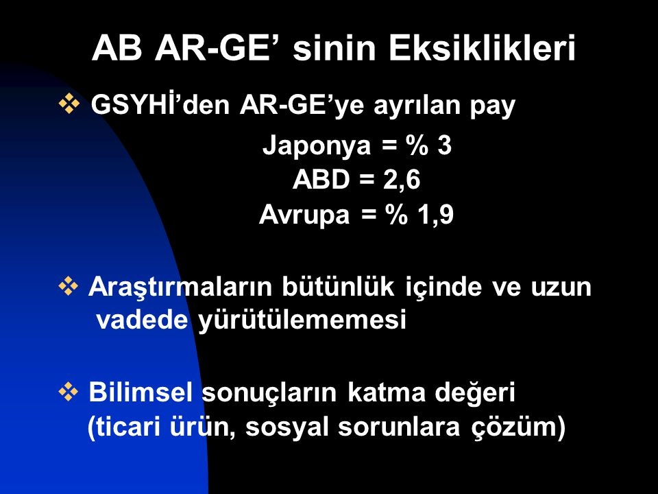 AB AR-GE' sinin Eksiklikleri  GSYHİ'den AR-GE'ye ayrılan pay Japonya = % 3 ABD = 2,6 Avrupa = % 1,9  Araştırmaların bütünlük içinde ve uzun vadede yürütülememesi  Bilimsel sonuçların katma değeri (ticari ürün, sosyal sorunlara çözüm)