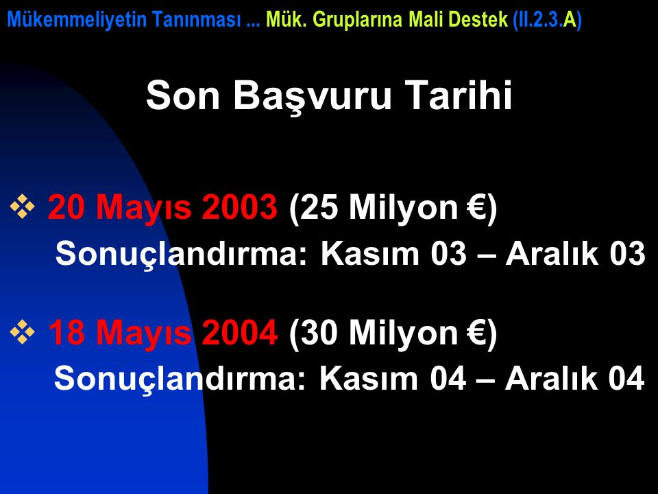 Mükemmeliyetin Tanınması... Mük. Gruplarına Mali Destek (II.2.3.A) Son Başvuru Tarihi  20 Mayıs 2003 (25 Milyon €) Sonuçlandırma: Kasım 03 – Aralık 0