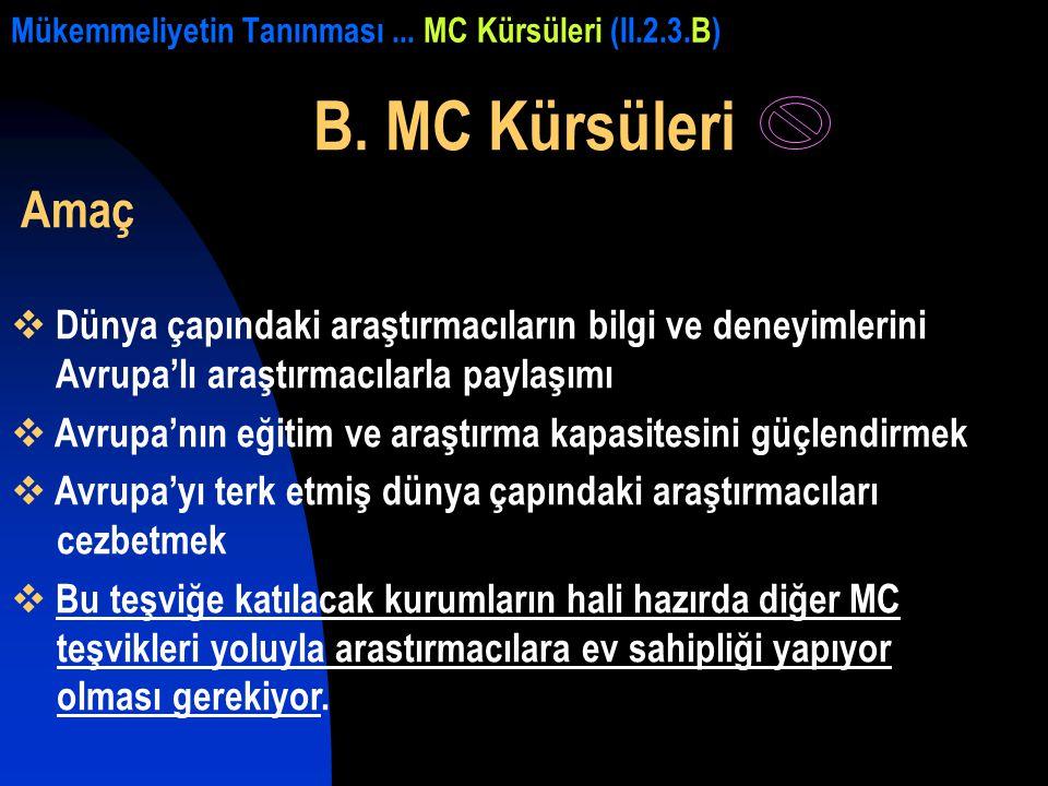 Mükemmeliyetin Tanınması... MC Kürsüleri (II.2.3.B) B. MC Kürsüleri Amaç  Dünya çapındaki araştırmacıların bilgi ve deneyimlerini Avrupa'lı araştırma