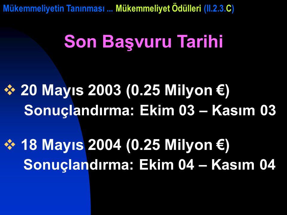Son Başvuru Tarihi  20 Mayıs 2003 (0.25 Milyon €) Sonuçlandırma: Ekim 03 – Kasım 03  18 Mayıs 2004 (0.25 Milyon €) Sonuçlandırma: Ekim 04 – Kasım 04 Mükemmeliyetin Tanınması...