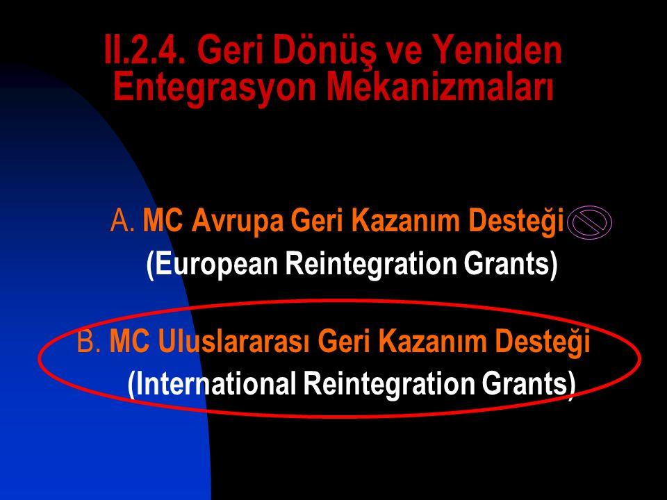 II.2.4. Geri Dönüş ve Yeniden Entegrasyon Mekanizmaları A.