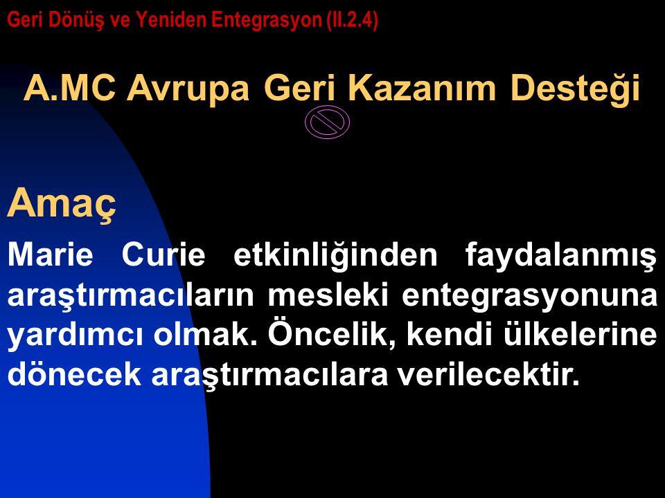 Geri Dönüş ve Yeniden Entegrasyon (II.2.4) A.MC Avrupa Geri Kazanım Desteği Amaç Marie Curie etkinliğinden faydalanmış araştırmacıların mesleki entegr