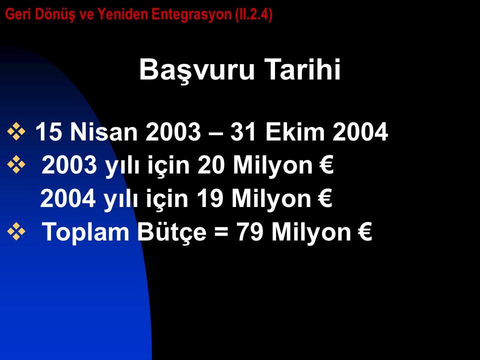 Başvuru Tarihi  15 Nisan 2003 – 31 Ekim 2004  2003 yılı için 20 Milyon € 2004 yılı için 19 Milyon €  Toplam Bütçe = 79 Milyon € Geri Dönüş ve Yeniden Entegrasyon (II.2.4)