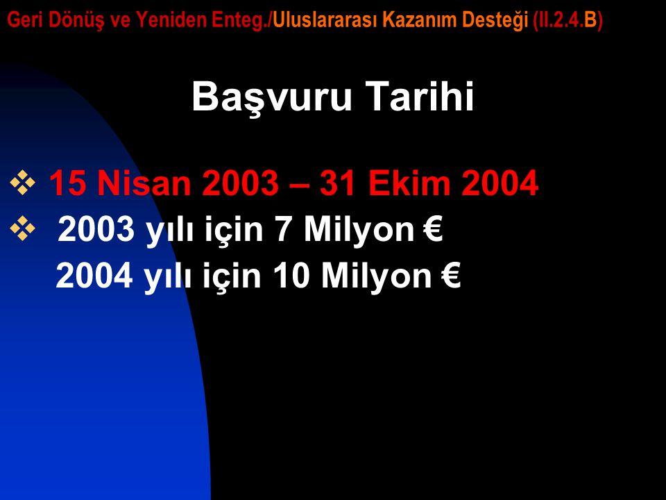 Geri Dönüş ve Yeniden Enteg./Uluslararası Kazanım Desteği (II.2.4.B) Başvuru Tarihi  15 Nisan 2003 – 31 Ekim 2004  2003 yılı için 7 Milyon € 2004 yı