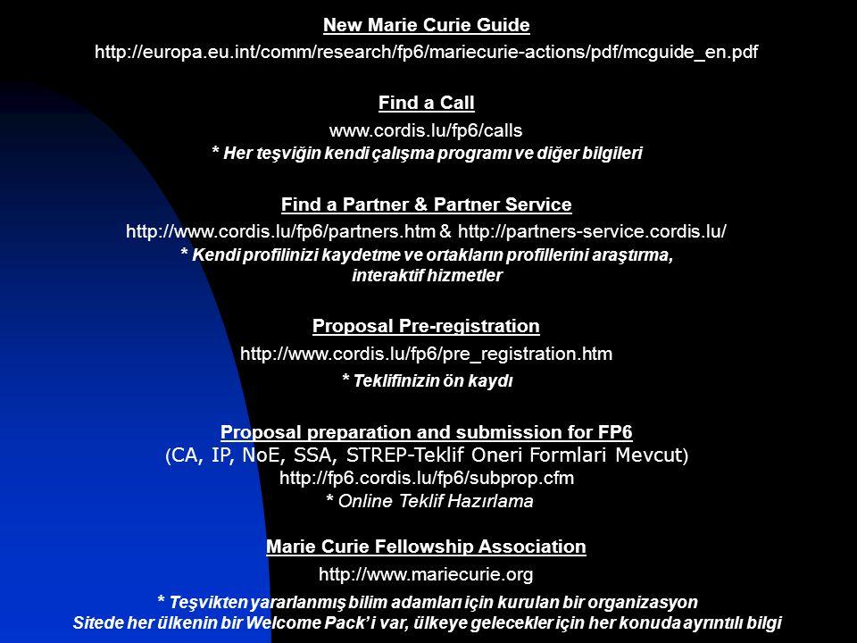 New Marie Curie Guide http://europa.eu.int/comm/research/fp6/mariecurie-actions/pdf/mcguide_en.pdf Find a Call www.cordis.lu/fp6/calls * Her teşviğin kendi çalışma programı ve diğer bilgileri Find a Partner & Partner Service http://www.cordis.lu/fp6/partners.htm & http://partners-service.cordis.lu/ * Kendi profilinizi kaydetme ve ortakların profillerini araştırma, interaktif hizmetler Proposal Pre-registration http://www.cordis.lu/fp6/pre_registration.htm * Teklifinizin ön kaydı Proposal preparation and submission for FP6 ( CA, IP, NoE, SSA, STREP-Teklif Oneri Formlari Mevcut ) http://fp6.cordis.lu/fp6/subprop.cfm * Online Teklif Hazırlama Marie Curie Fellowship Association http://www.mariecurie.org * Teşvikten yararlanmış bilim adamları için kurulan bir organizasyon Sitede her ülkenin bir Welcome Pack' i var, ülkeye gelecekler için her konuda ayrıntılı bilgi