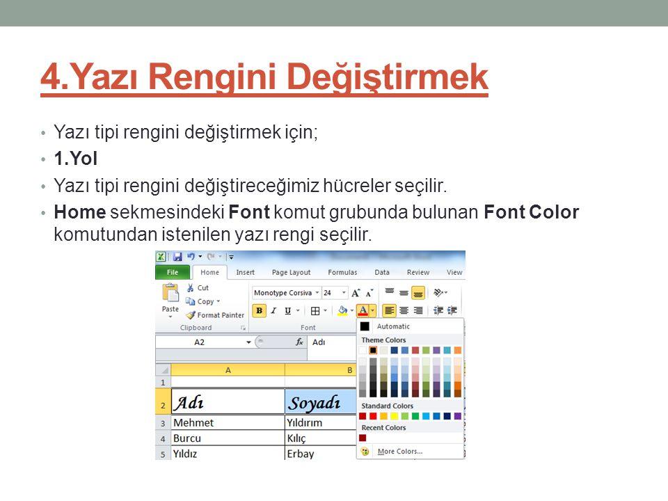 4.Yazı Rengini Değiştirmek Yazı tipi rengini değiştirmek için; 1.Yol Yazı tipi rengini değiştireceğimiz hücreler seçilir. Home sekmesindeki Font komut