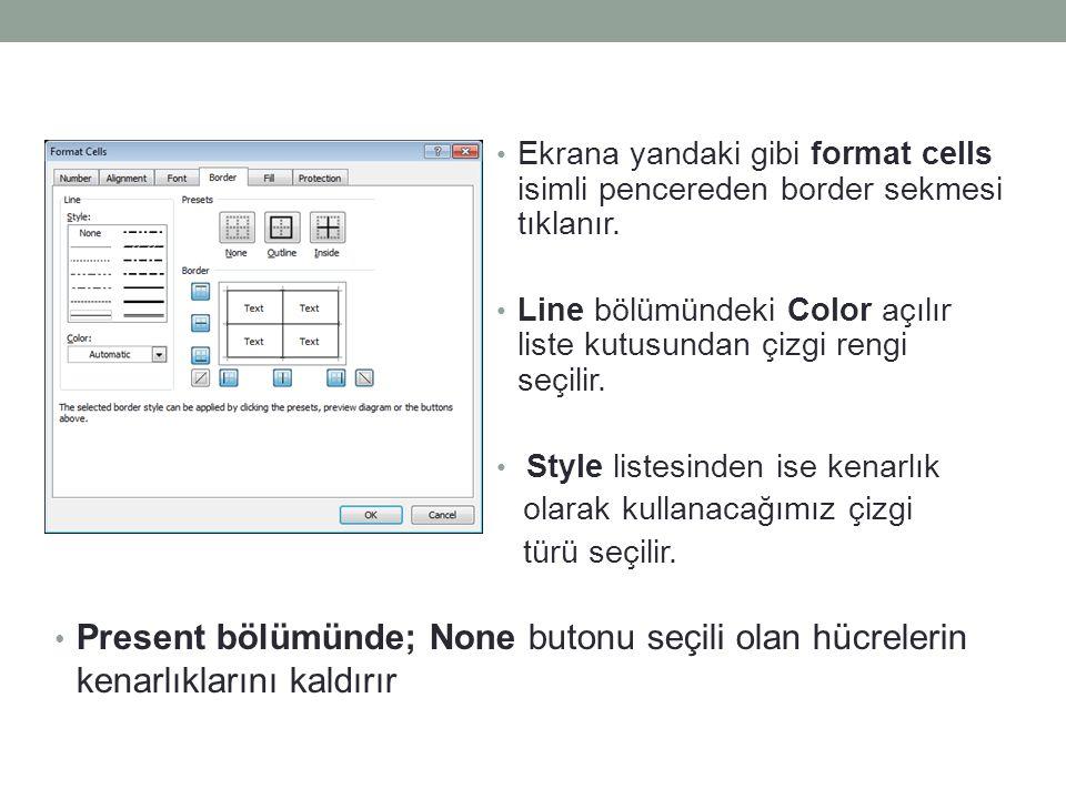 Ekrana yandaki gibi format cells isimli pencereden border sekmesi tıklanır. Line bölümündeki Color açılır liste kutusundan çizgi rengi seçilir. Style