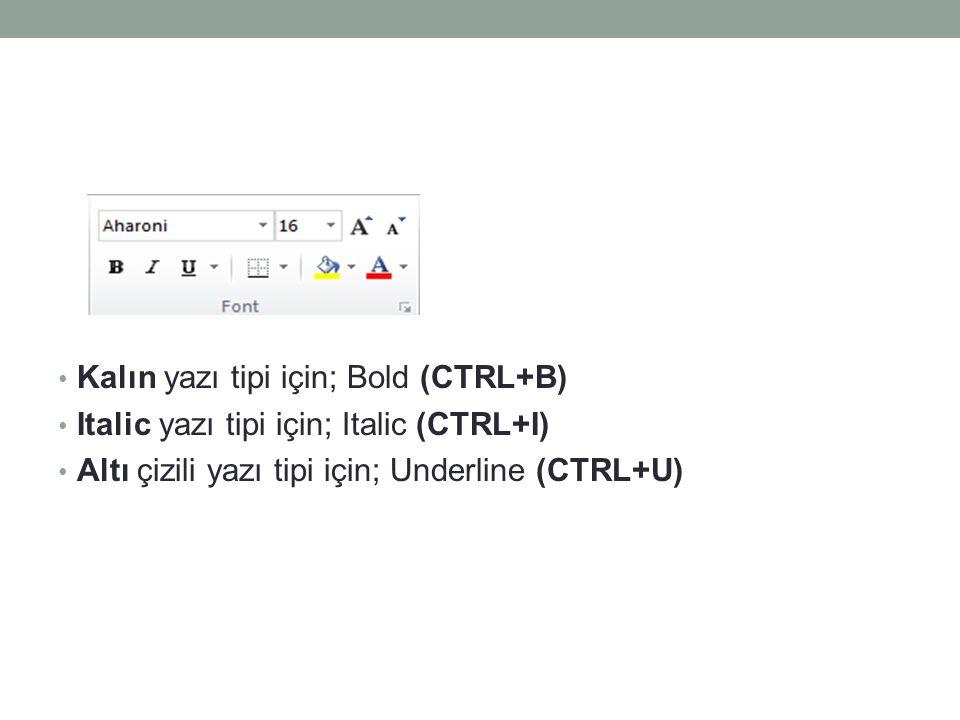 Kalın yazı tipi için; Bold (CTRL+B) Italic yazı tipi için; Italic (CTRL+I) Altı çizili yazı tipi için; Underline (CTRL+U)
