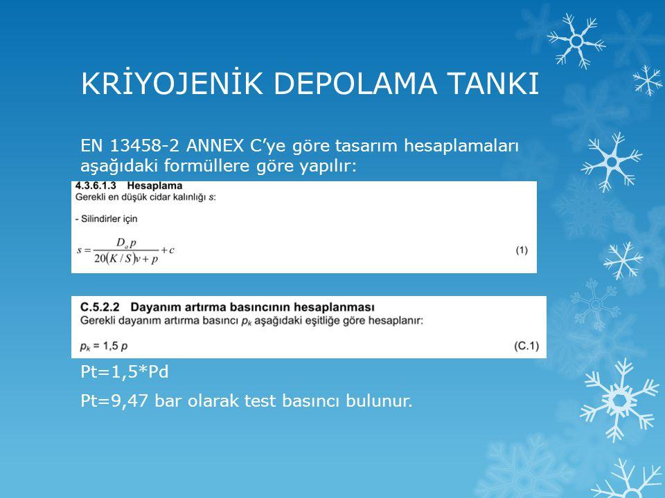 KRİYOJENİK DEPOLAMA TANKI EN 13458-2 ANNEX C'ye göre tasarım hesaplamaları aşağıdaki formüllere göre yapılır: Pt=1,5*Pd Pt=9,47 bar olarak test basınc