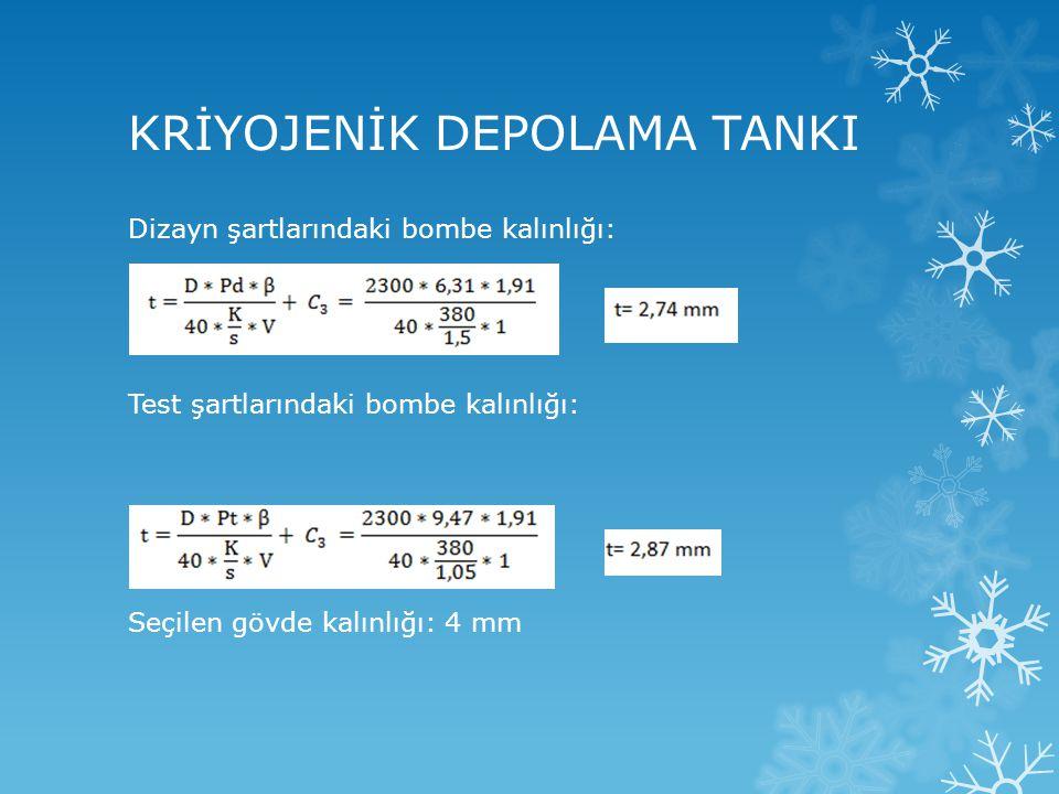 Dizayn şartlarındaki bombe kalınlığı: Test şartlarındaki bombe kalınlığı: Seçilen gövde kalınlığı: 4 mm