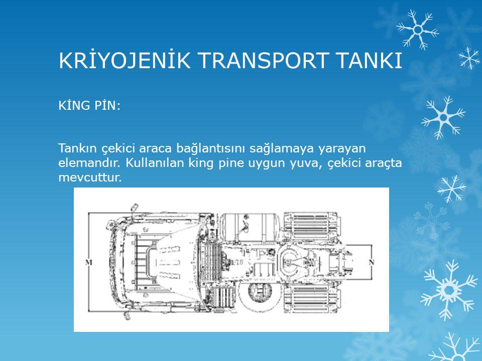 KRİYOJENİK TRANSPORT TANKI KİNG PİN: Tankın çekici araca bağlantısını sağlamaya yarayan elemandır. Kullanılan king pine uygun yuva, çekici araçta mevc