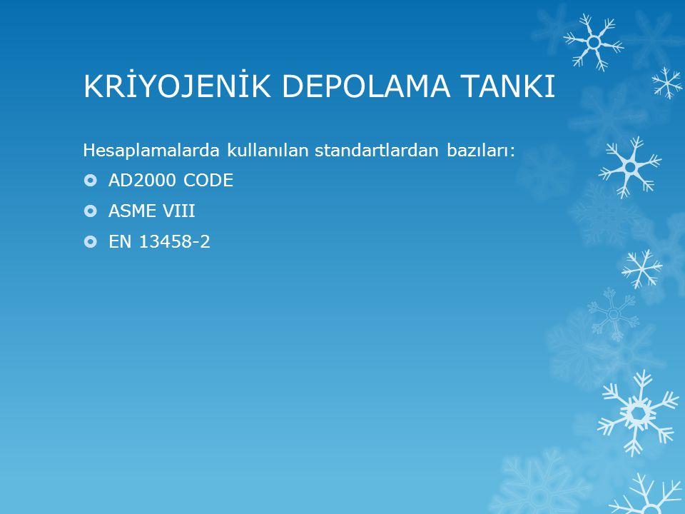 KRİYOJENİK DEPOLAMA TANKI  Örnek Hesaplama: EN 13458-2 ANNEX C'ye göre 67 m³ LOX tankı tasarımının yapılması.