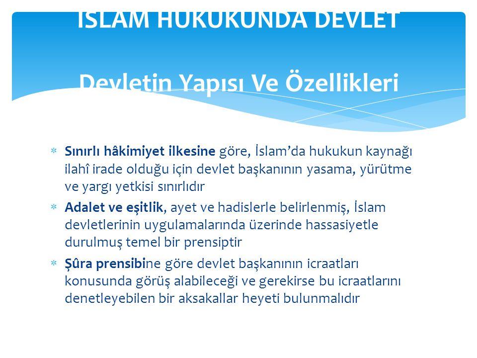  Devletin unsurları egemenlik, ülke ve halktır  İslam hukukunda egemenlik Allah'a ait olmakla birlikte, egemenliğin kullanılması insanlar eliyle olmaktadır.