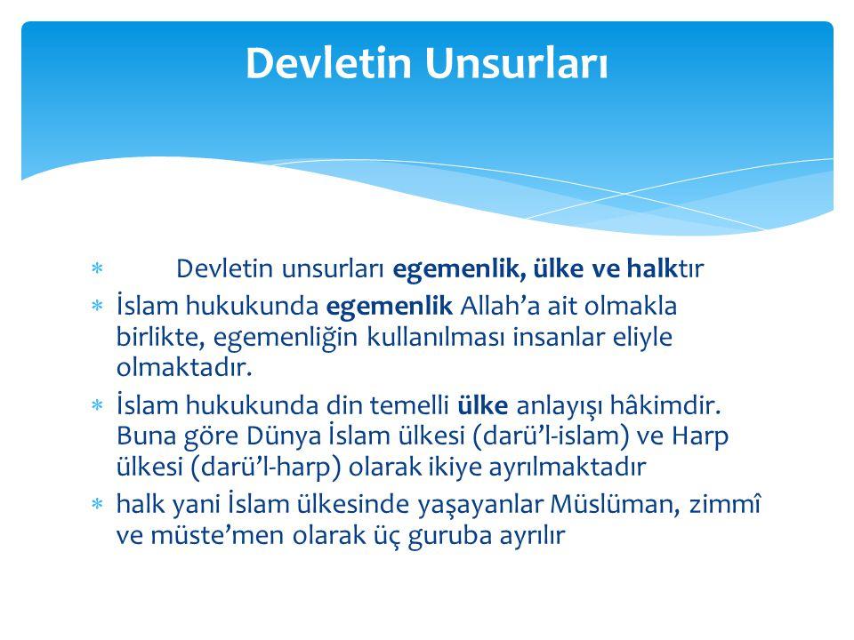  İslam'da devlet başkanına halife, imam, emirü'l- müminin gibi adlar verilmektedir.