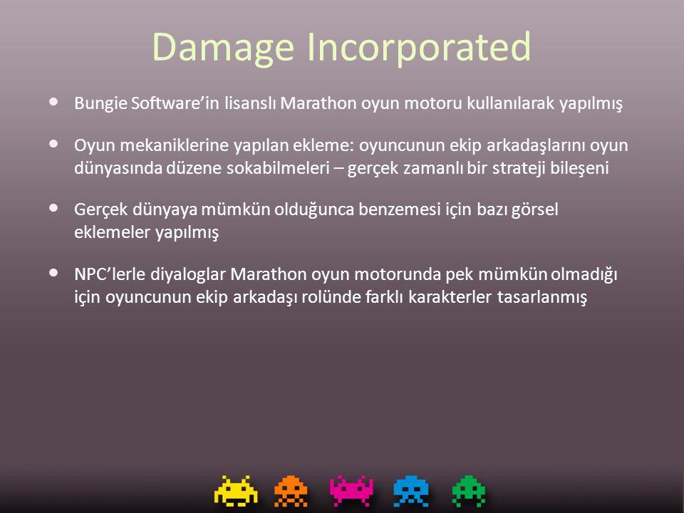 Damage Incorporated Bungie Software'in lisanslı Marathon oyun motoru kullanılarak yapılmış Oyun mekaniklerine yapılan ekleme: oyuncunun ekip arkadaşla