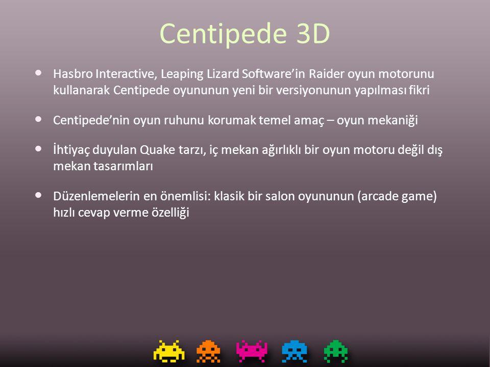 Centipede 3D Hasbro Interactive, Leaping Lizard Software'in Raider oyun motorunu kullanarak Centipede oyununun yeni bir versiyonunun yapılması fikri C