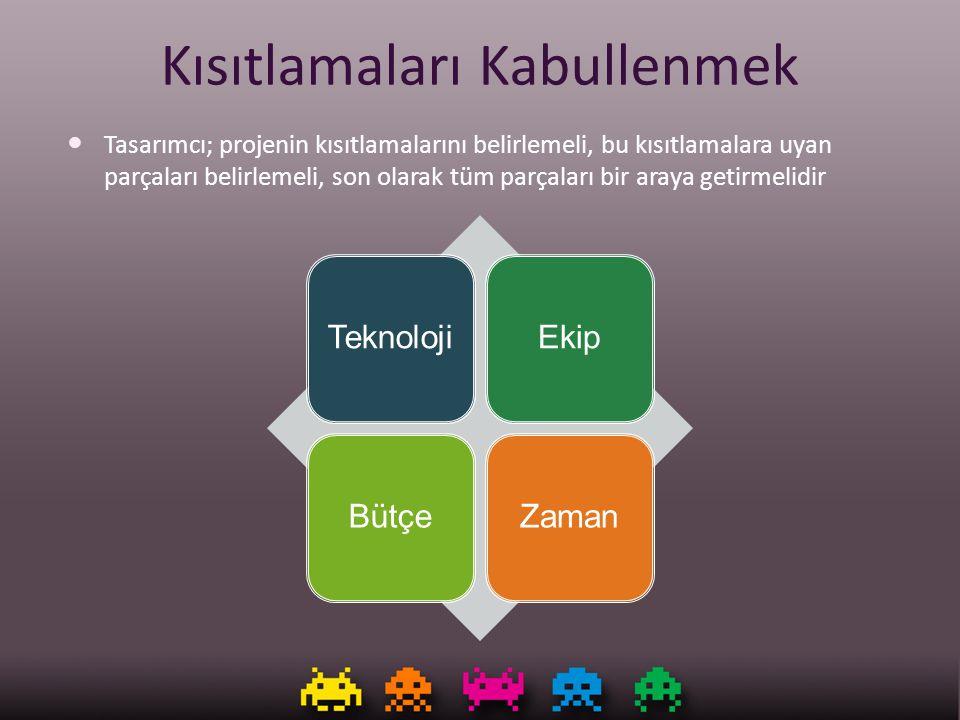 Kısıtlamaları Kabullenmek Tasarımcı; projenin kısıtlamalarını belirlemeli, bu kısıtlamalara uyan parçaları belirlemeli, son olarak tüm parçaları bir a