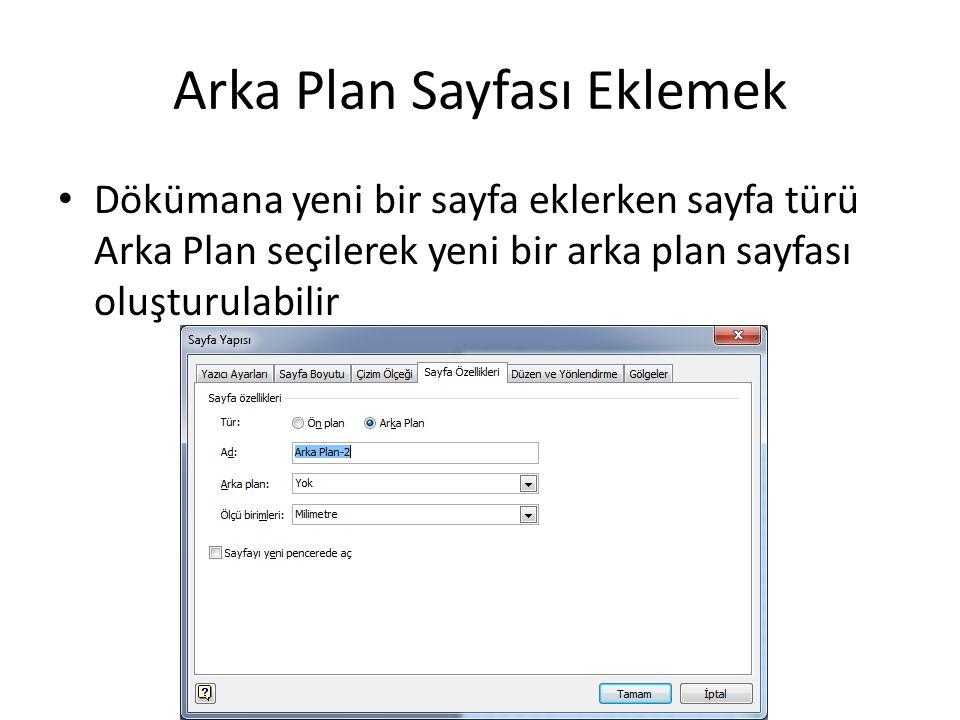 Arka Plan Sayfası Eklemek Dökümana yeni bir sayfa eklerken sayfa türü Arka Plan seçilerek yeni bir arka plan sayfası oluşturulabilir