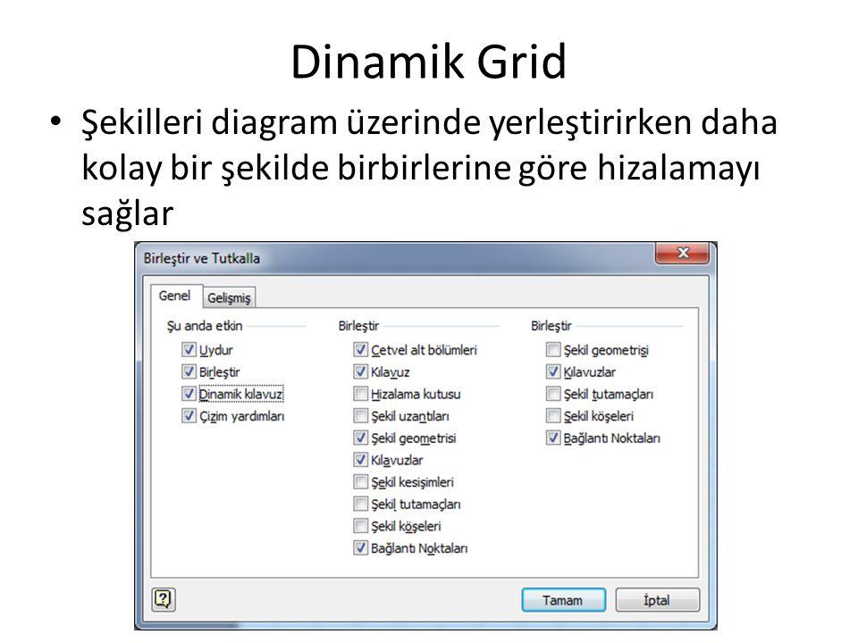 Dinamik Grid Şekilleri diagram üzerinde yerleştirirken daha kolay bir şekilde birbirlerine göre hizalamayı sağlar