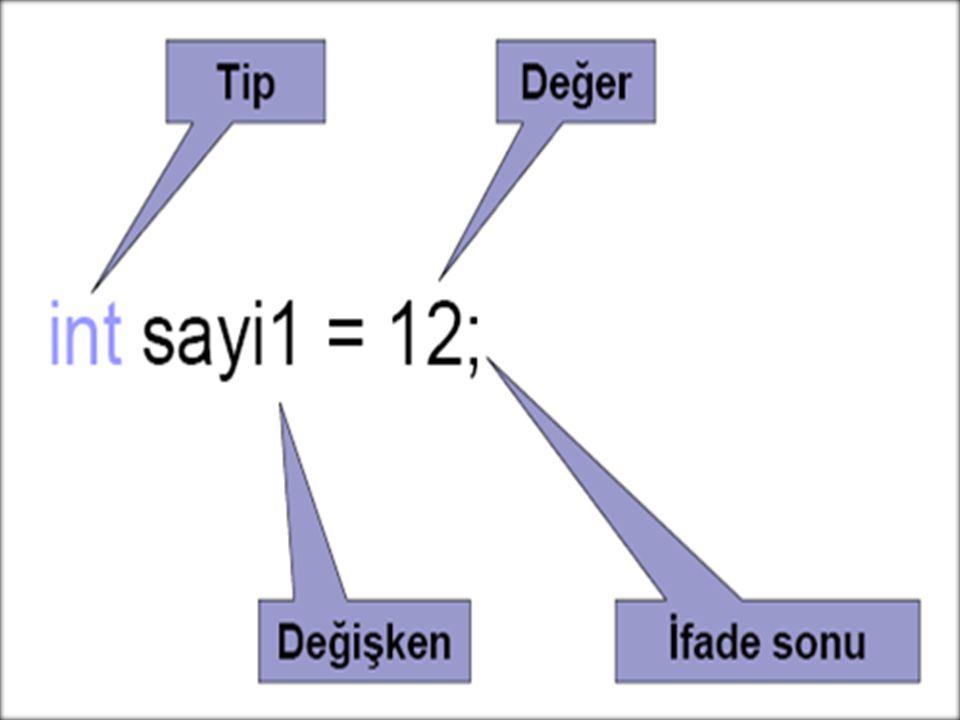 Tanımlanan değişkenlerin tipleri değişken isminden önce belirtilir.