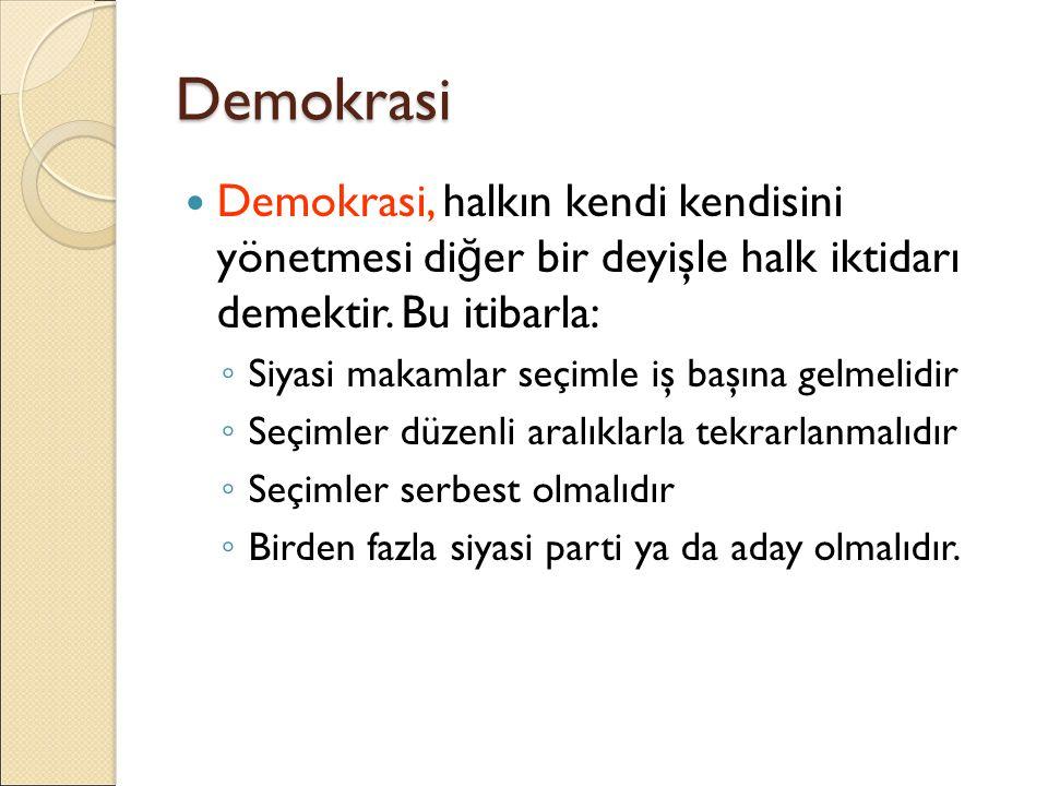 Demokrasi Demokrasi, halkın kendi kendisini yönetmesi di ğ er bir deyişle halk iktidarı demektir. Bu itibarla: ◦ Siyasi makamlar seçimle iş başına gel